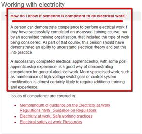 Competent Person for Part P Electrical Work